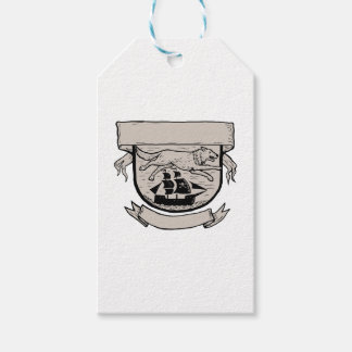 Wolf Running Over Pirate Ship Crest Scratchboard Gift Tags