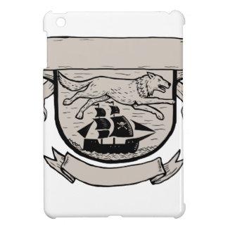 Wolf Running Over Pirate Ship Crest Scratchboard iPad Mini Cases