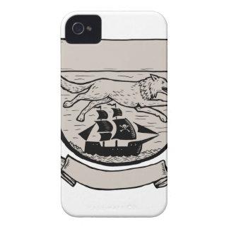 Wolf Running Over Pirate Ship Crest Scratchboard iPhone 4 Case