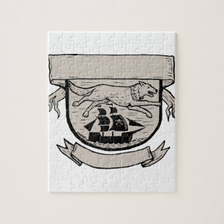 Wolf Running Over Pirate Ship Crest Scratchboard Jigsaw Puzzle