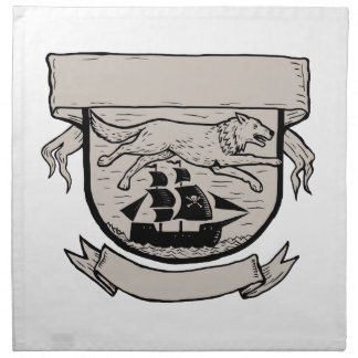 Wolf Running Over Pirate Ship Crest Scratchboard Napkin