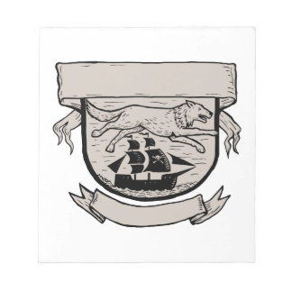 Wolf Running Over Pirate Ship Crest Scratchboard Notepad