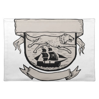 Wolf Running Over Pirate Ship Crest Scratchboard Placemat