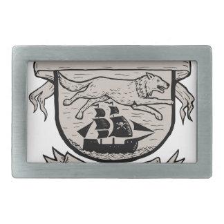 Wolf Running Over Pirate Ship Crest Scratchboard Rectangular Belt Buckle