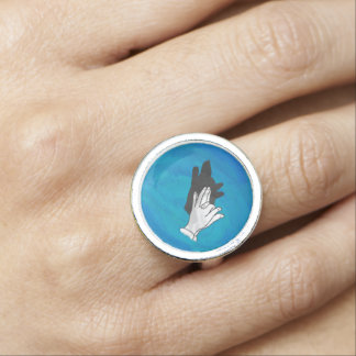 Wolf Shadow on Blue Photo Rings