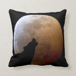 Wolf Silhouette and Lunar Eclipse Throw Pillow