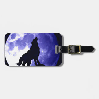 Wolf Silhouette & Full Moon Luggage Tag