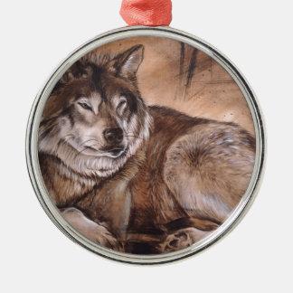 Wolf Silver-Colored Round Ornament