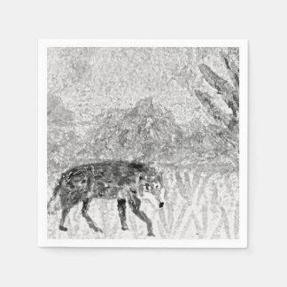 Wolf Sketch Wild Animal Art Paper Napkins