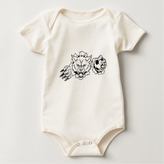 Wolf Soccer Mascot Breaking Background Baby Bodysuit