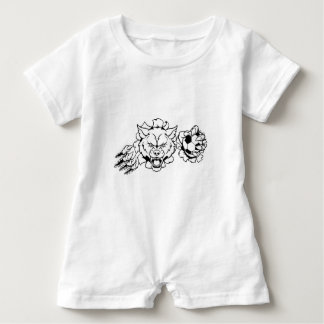 Wolf Soccer Mascot Breaking Background Baby Romper