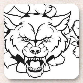 Wolf Soccer Mascot Breaking Background Coaster