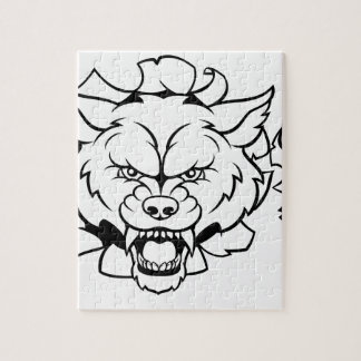 Wolf Soccer Mascot Breaking Background Jigsaw Puzzle