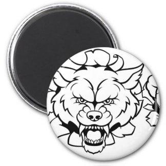Wolf Soccer Mascot Breaking Background Magnet