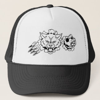 Wolf Soccer Mascot Breaking Background Trucker Hat