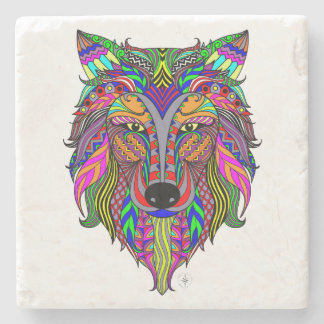 Wolf Spirit Marble Stone Coaster