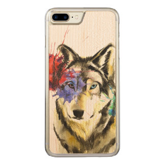 Wolf Splatter Carved iPhone 8 Plus/7 Plus Case