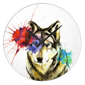 Wolf Splatter Large Clock