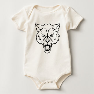 Wolf Sports Mascot Angry Face Baby Bodysuit