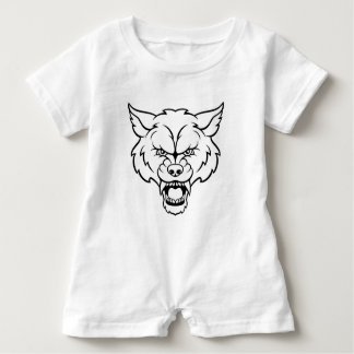 Wolf Sports Mascot Angry Face Baby Romper