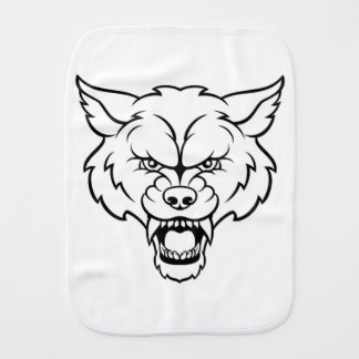 Wolf Sports Mascot Angry Face Burp Cloth
