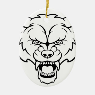 Wolf Sports Mascot Angry Face Ceramic Ornament