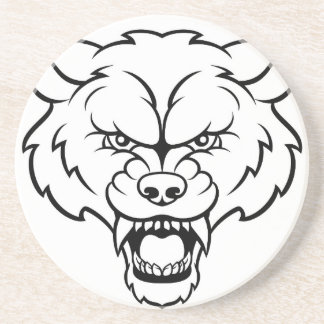 Wolf Sports Mascot Angry Face Coaster