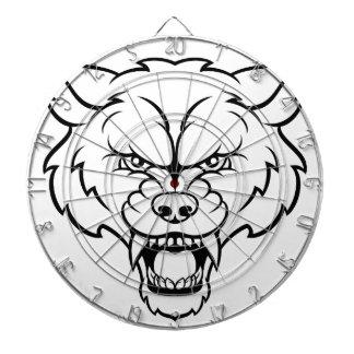 Wolf Sports Mascot Angry Face Dartboard