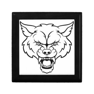 Wolf Sports Mascot Angry Face Gift Box