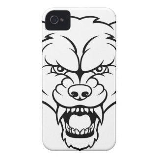 Wolf Sports Mascot Angry Face iPhone 4 Case