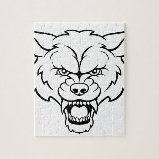 Wolf Sports Mascot Angry Face Jigsaw Puzzle