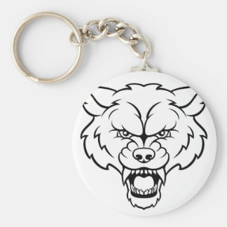 Wolf Sports Mascot Angry Face Keychain