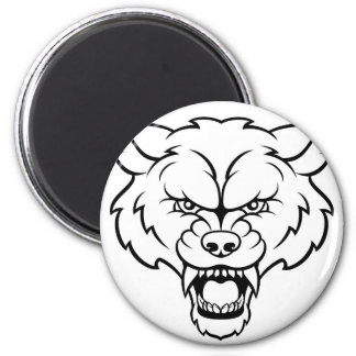 Wolf Sports Mascot Angry Face Magnet