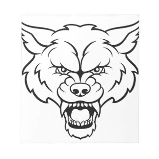 Wolf Sports Mascot Angry Face Notepad