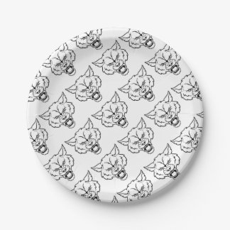 Wolf Sports Mascot Angry Face Paper Plate