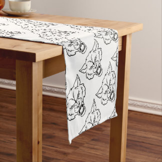 Wolf Sports Mascot Angry Face Short Table Runner