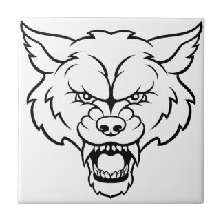 Wolf Sports Mascot Angry Face Tile