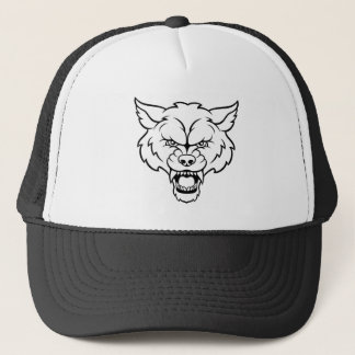 Wolf Sports Mascot Angry Face Trucker Hat