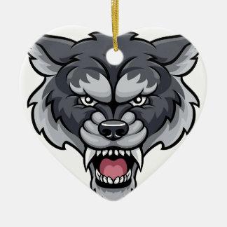 Wolf Sports Mascot Ceramic Ornament