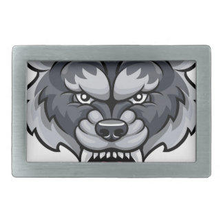 Wolf Sports Mascot Rectangular Belt Buckle