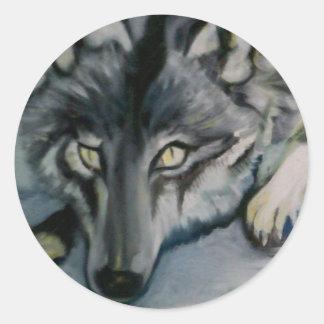 Wolf sticker. round sticker