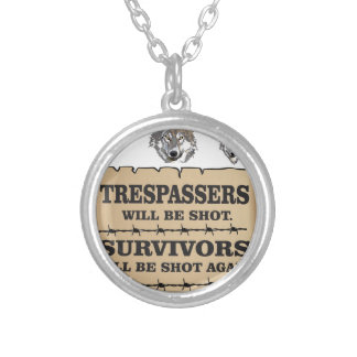 wolf survivor yeah silver plated necklace