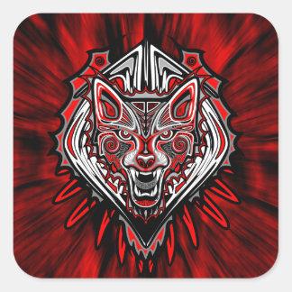 Wolf Tattoo Style Haida Art Square Stickers Glossy