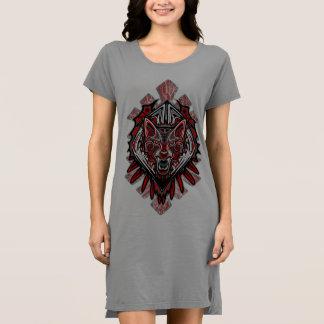 Wolf Tattoo Style Haida Art Women'sT-Shirt Dress