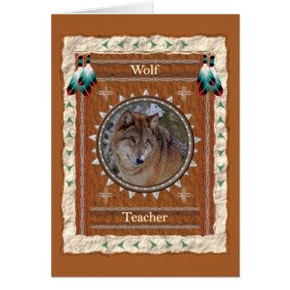 Wolf  -Teacher- Custom Greeting Card