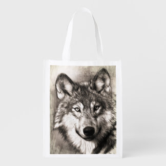 Wolf Tote Grocery Bags