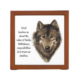 Wolf Totem Animal Guide Watercolor Nature Art Desk Organizer
