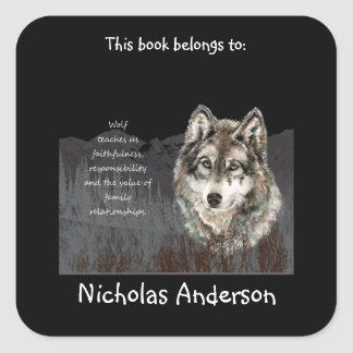 Wolf Totem Animal Spirit Guide Bookplate Square Sticker
