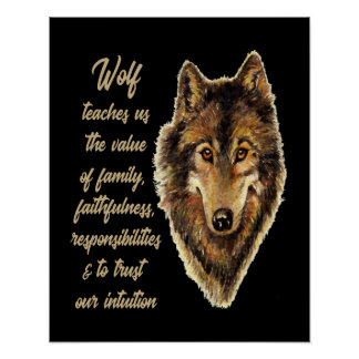 Wolf Totem Animal Spirit Guide for Inspiration Poster