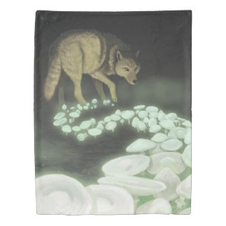 Wolf Trailing Death Mushrooms Duvet Cover